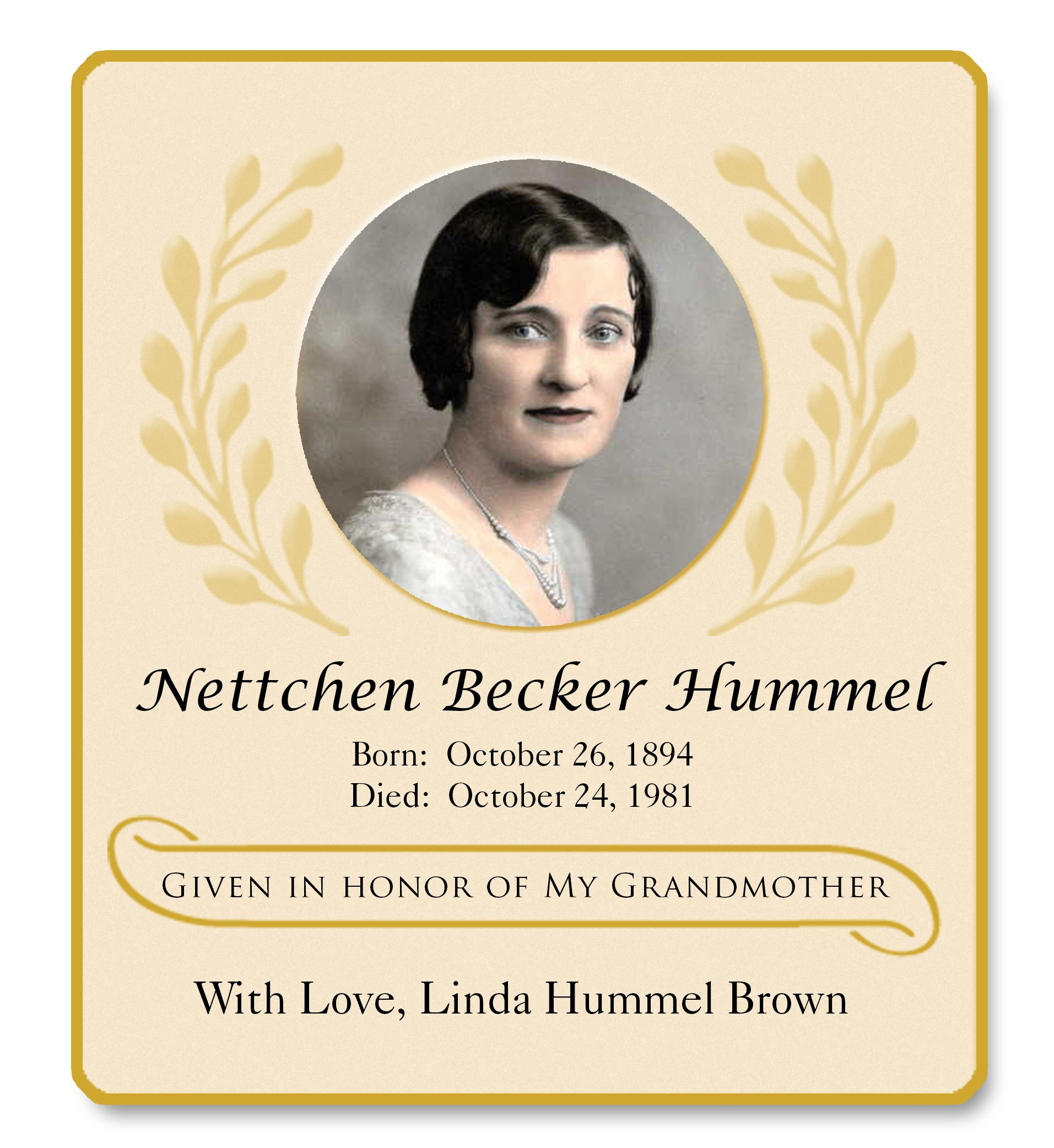 Hummel Nattchen Memorial